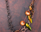 Dark Rustic Chain Necklace Hand Forged Copper Large Patina Chain w Bronze Elytra Wings and Copper Bells Boho Artisan Jewelry