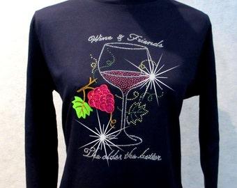 Rhinestone T-Shirt // Wine And Friends // The Older The Better // LAT Ringspun Cotton // Long Sleeve // LAT Premium Shirt