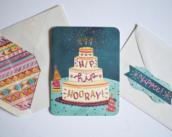 Blank Celebration Card, Friend Birthday Card, Modern Letterpress Greeting Card, Hip Hip Hooray Notecard, Confetti Bday Card for Girlfriend