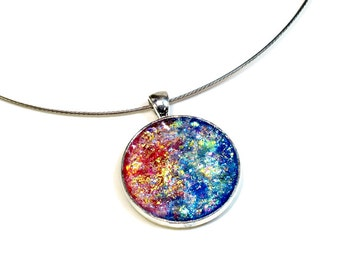 Sparkly Faux Druzy Pendant, Glitter Necklace, Sparkly Jewelry