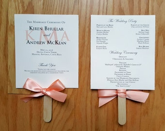 25 Wedding Program Fans, Peach Wedding Programs, Monogram Program Fan, Beach Wedding Programs - Fully Assembled & Printed Program Fans