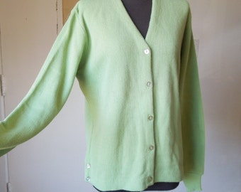 RESERVED FOR LiSA...Vintage Cardigan Sweater, Mint Green Golf Sweater, Key Lime Green, Acrylic Knit, NOS, Women's Small to Medium