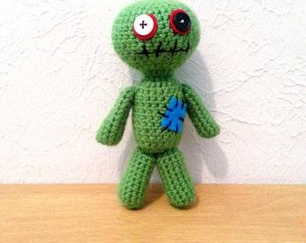 Zombie Doll, Crochet Zombie Stuffed Animal, Zombie Plushie with Optional Crochet Hat