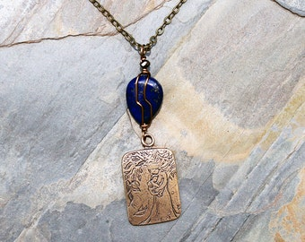 Blue Mother's Day Necklace, Wire Wrapped Lapis Necklace, Natural Stone Necklace, Blue Necklace, Mother Child Necklace, Bronze Necklace
