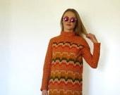 70s Retro Orange Stripe Micro Mini Sweater Dress Tunic xs s m
