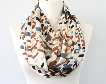 Summer scarf infinity scarf loop scarf circle scarf geometric pattern scarf fashion scarves for women spring scarf gift for her mothers