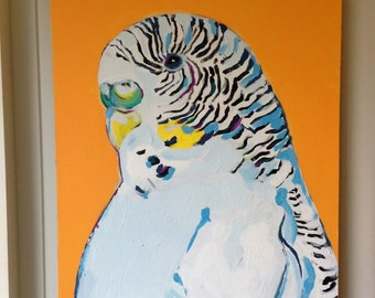 "Budgie Bird - Tropical Bird # 1 - OOAK Original Acrylic Painting 24"" x 20"" - Large Budgie Painting - Urban Jungle - Tropical Art /"
