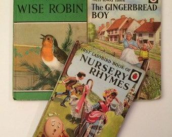 Vintage Children's Ladybird Books - set of 3 - Nursery Rhymes, The Gingerbread Boy and The Wise Robin 1960's