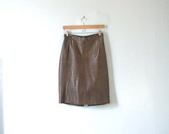 Vintage 70's brown leather skirt, pencil skirt, size 8