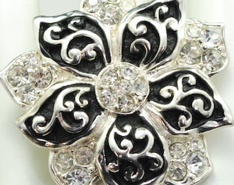 Silver Flower Ring/Black/Rhinestone/Statement Ring/Spring/Summer/Gift For Her/Mother's Day/Wedding Jewelry/Under 20 USD/Adjustable