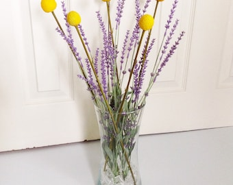 Spring Floral Arrangement Lavender & Yellow Billy Button Plastic Flowers in Clear Glass Vase with Clear Plastic Square Gem Vase Filler