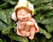 Ooak Miniature Tiny Sleeping Newborn magic fairie sculpt handmade  Fairy Dolls, collectible fairy dolls, polymer clay dolls