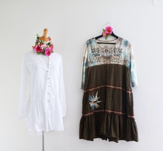 Rustic Dress Upcycled Maxi Dress Boho Chic Clothing Western