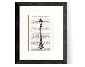 Narnia Lamppost Over Rescued Narnia The Lion Witch and The Wardrobe Book Page - Narnia Gift - The Lion Witch and The Wardrobe Art Print