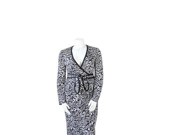 1980s DVF XL Dress • 80s Diane Von Furstenberg • Designer Wrap Dress•  XL