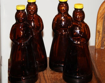 Vintage 1969-1971 Mrs. Butterworth's Maple Syrup Amber Glass Bottles; Original Caps, Figural Bottle, Collectible, Similar to Aunt Jemima