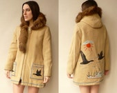 Vintage James Bay Wool Eskimo Hooded Coat With Fur Trim & Embroidery