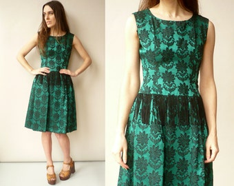1950's Vintage Green Brocade & Tassel Prom Dress Size XS