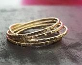 14k Gold  Stacking Ring - Wedding Ring - Setof5 Textured Wrap Ring - Unisex Rings - Trending Rings - Handmade Ring - Venexia Jewelry