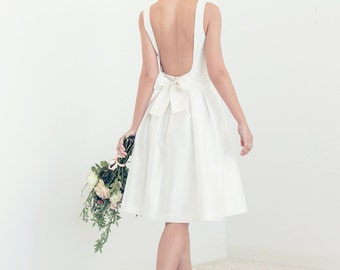 Short off-white silk open-back wedding dress // custom short wedding dress // Tory wedding dress