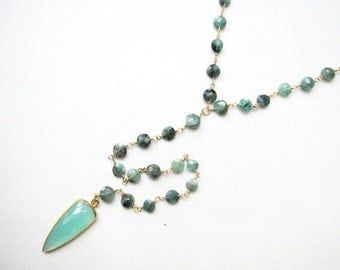 Valentines Day Sale-Chrysoprase and Aqua Chalcedony Lariat Necklace-lariat, green necklace, y necklace, long necklace, gemstone necklace