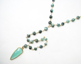 Chrysoprase and Aqua Chalcedony Lariat Necklace-lariat, green necklace, y necklace, long necklace, gemstone necklace