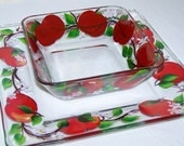 Chip Dip Serving Set with Hand Painted Red Apples