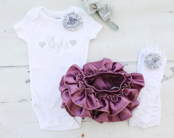 Silver & Plum Spring Summer Outfit Newborn Baby Girl Coming Home Outfit Personalized Bodysuit Bloomers Leg Warmers Bow 1st Birthday Pictures