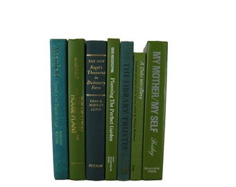 Books by Color, Green  Blue Vintage Decorative Books, Housewarming Gift, books by color, decor books, colored books, book set, accent books