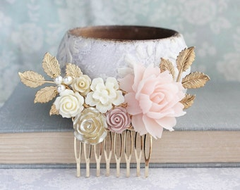Bridal Hair Comb Blush Wedding Gold Ivory Cream Nudes Natural Tones Vintage Style Bridesmaid Gift Floral Hair Piece Gold Leaf Branch
