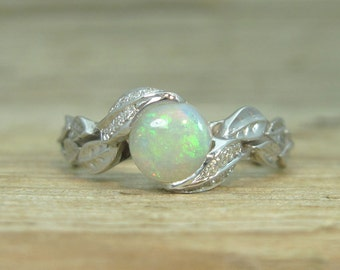 Opal Leaf Engagement Ring, Leaf Opal Ring, White Gold Diamond Leaves Ring With Opal , Natural Floral Leaves Ring, leaf ring, Natural Opal