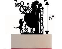 Custom Wedding Cake Topper , Couple Silhouette and any Dog of your choise with free base for display.after the event