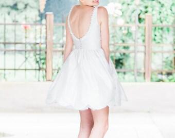 Backless Short Silk Wedding Dress, POPPY, White, Ivory, Colors
