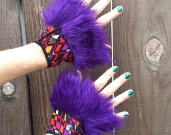 Faux Fur Cuffs, Purple and Orange Costume, Burning man, Festival, Hipster, Rave, Performance, EDM, Cosplay, Handmade by Sandalamoon