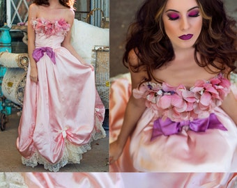 RESERVED Gown Marie Antoinette Princess Dress Antique Silk Floral & LACE Strapless Dress // Revived Designs by TatiTati Style on Etsy