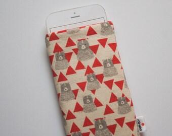 Triangle Bear Red Case iPhone iPhone 5 6 6s 6 Plus 6s Plus iPod Classic HTC One M9 LG G4 Samsung Galaxy S6 Sony Xperia Z5 Nexus 5X 6P Sleeve
