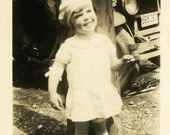 "Vintage Photo ""Happy Traveler"" Children Snapshot Photo Antique Photo Black & White Photograph Found Photo Paper Ephemera Vernacular - 187"
