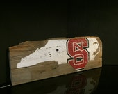 NC State hand painted distressed wood sign
