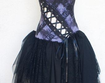 Gothic Dress - Halloween Costume - Gray Smoke Dress - Witch
