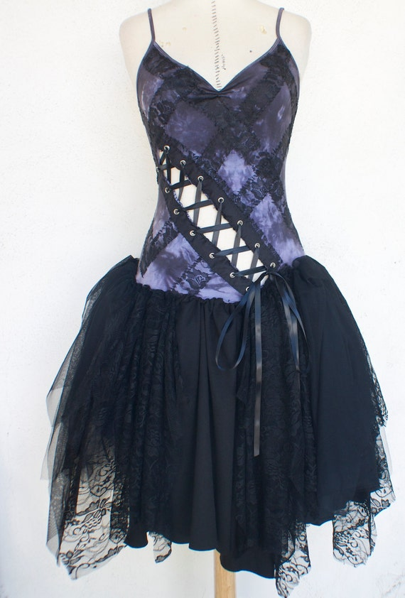 Gothic Dress - Halloween Costume - Gray Smoke Dress - Witch