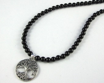 Obsidian beaded necklace Tree of Life Pendant Necklace Inspiring Jewelry Gifts for Mother in law Daughter Chakra Jewelry Boho Healing Stores