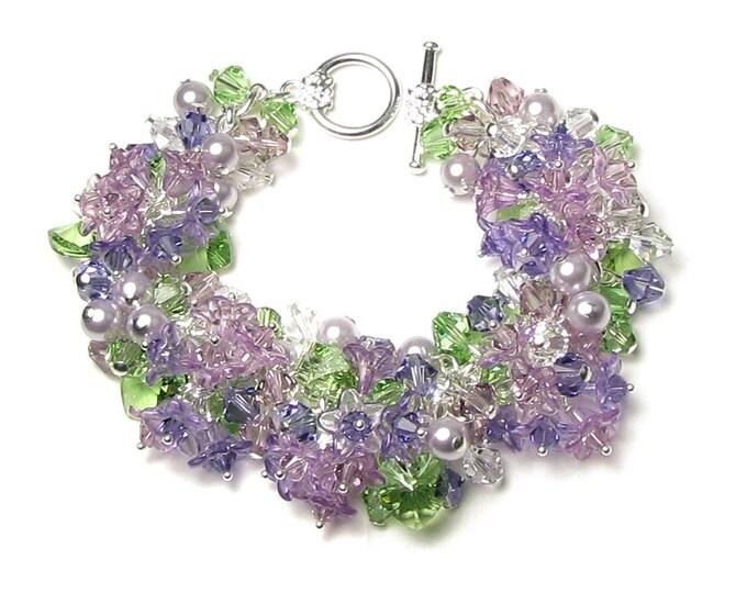Lilac Flower Bracelet Swarovski Crystal Cluster Spring Floral Charm Jewelry Romantic Lavender Pearl Wedding Bracelet Silver Bridesmaid Gift