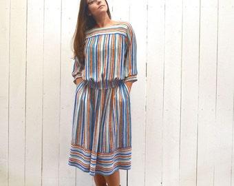 Blouse Skirt Set 1960s Vintage Striped Peasant Top High Waist Pocket Skirt XS Small