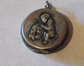 Saint Anthony of Padua & Baby Jesus Vintage Silver Religious Locket Medal on 18 inch sterling rolo chain