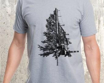 Men's Tree & Industrial Landscape T-Shirt - Screen Printed T-Shirt - American Apparel
