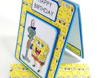 Spongebob Inspired Birthday Card with Matching Embellished Envelope