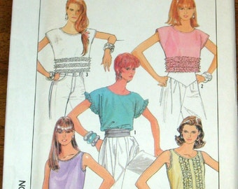 Vintage 1980s Sewing Pattern Simplicity 8623, Ruffled Crop Top, Pullover Blouse Womens Misses Size 10 12 14 Bust 32 34 36 Uncut Factory Fold