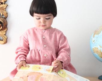 Back to school dress, girls smock, school dress, preschool dress, kindergarten dress. Linen smock dress. Sustainable clothing, made in Italy