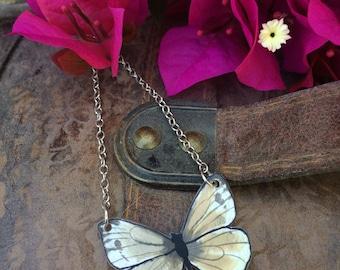 White Cabbage Butterfly Original Art Necklace Pieris rapae