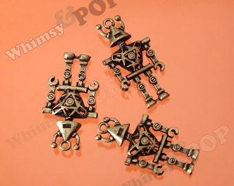 1 - Large Antique Bronze Mr. Robot, Robot Charms, Robot Pendant, 45mm x 22mm (R6-056)